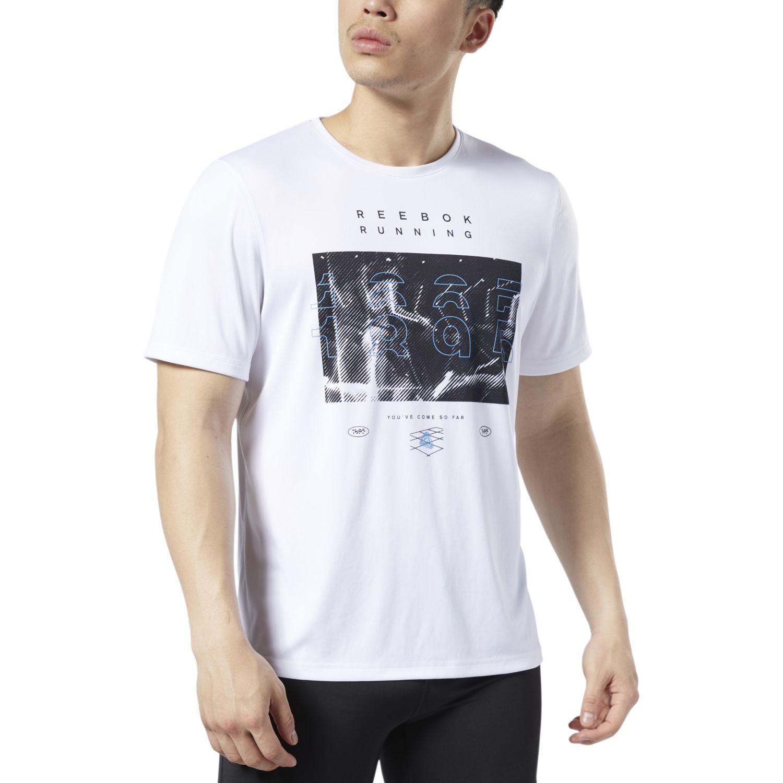 Reebok Re Run Crew Tee Blanco / negro Camisetas y Polos Deportivos