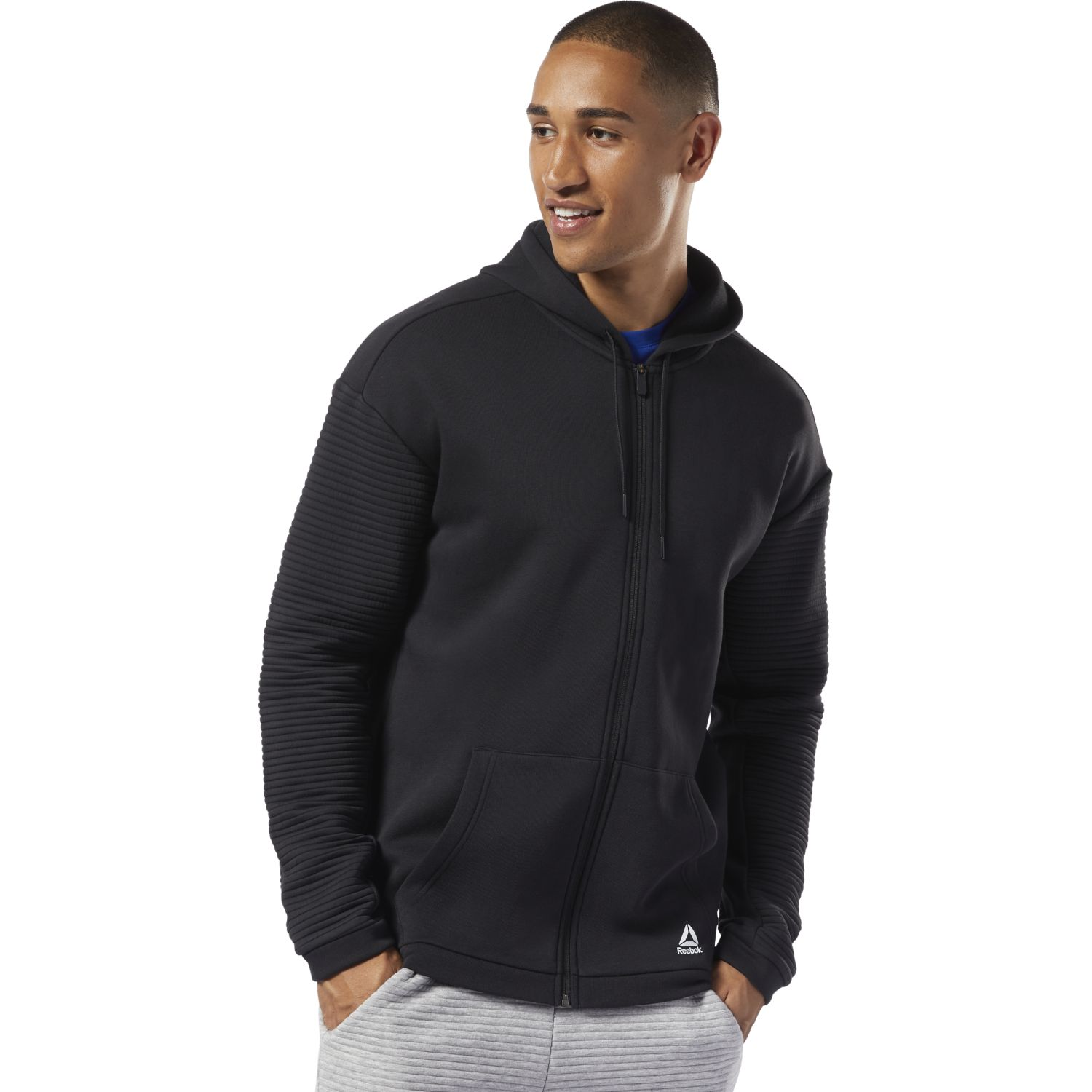 Reebok wor fleece fz hood Negro Hoodies y Sweaters Fashion