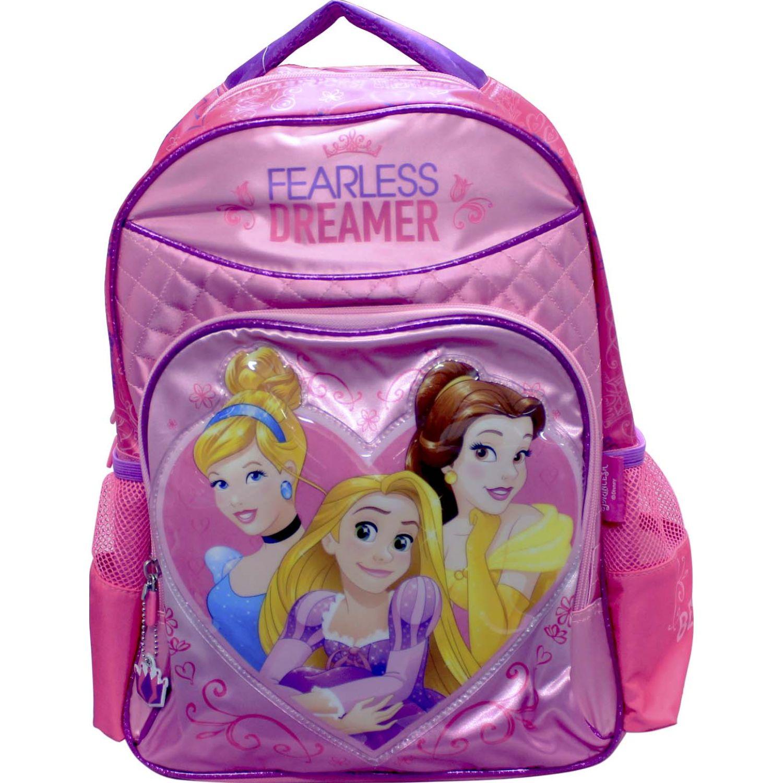 Mochilas de Niña Princesas Rosado artesco - mochila princesas corazon