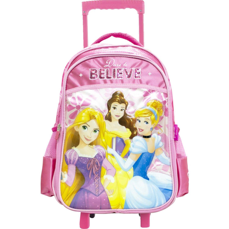 Mochilas de Niña Princesas Rosado artesco - mochila ruedas lentejuelas