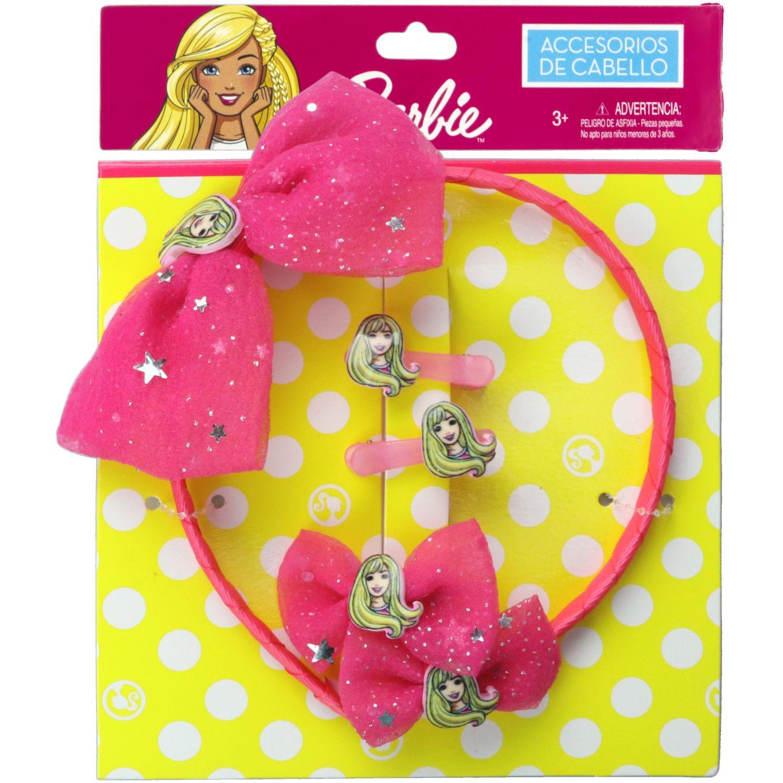 Barbie Set Accesorios Cabello Barbie Fucsia Cepillos para cabello