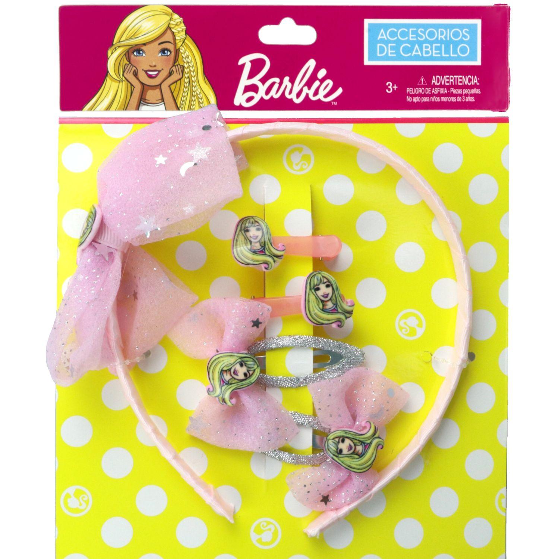 Barbie Set Accesorios Cabello Barbie Rosado Cepillos para cabello