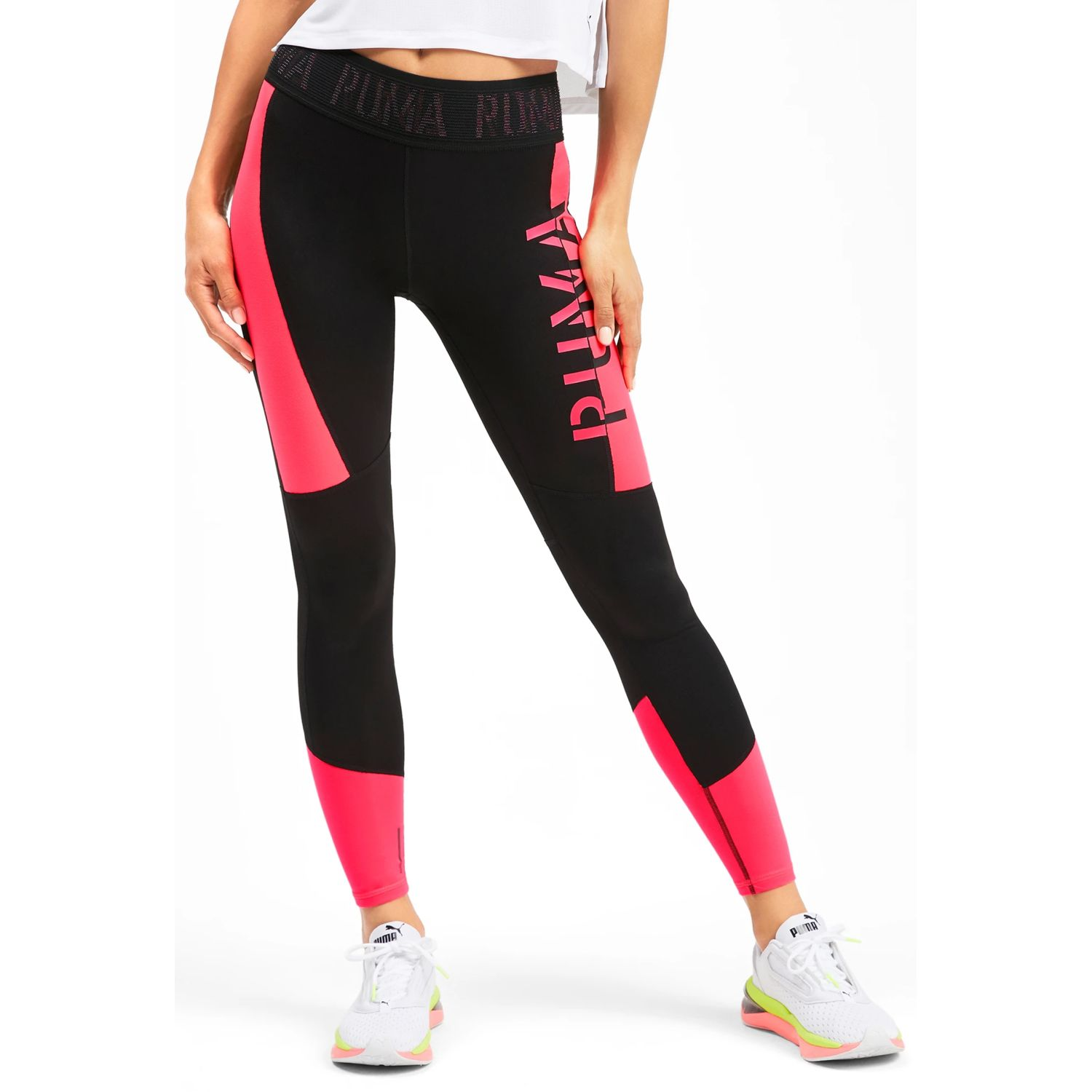 Puma logo 7/8 tight Negro / fucsia Leggings Deportivos