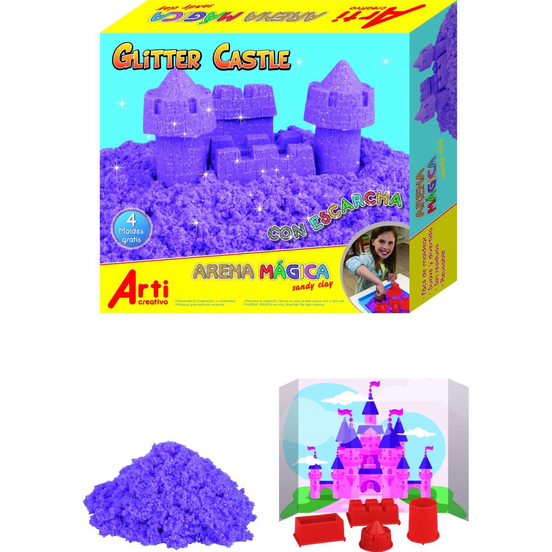 Arti Creativo arena magica glitter castle Morado Arte de arena
