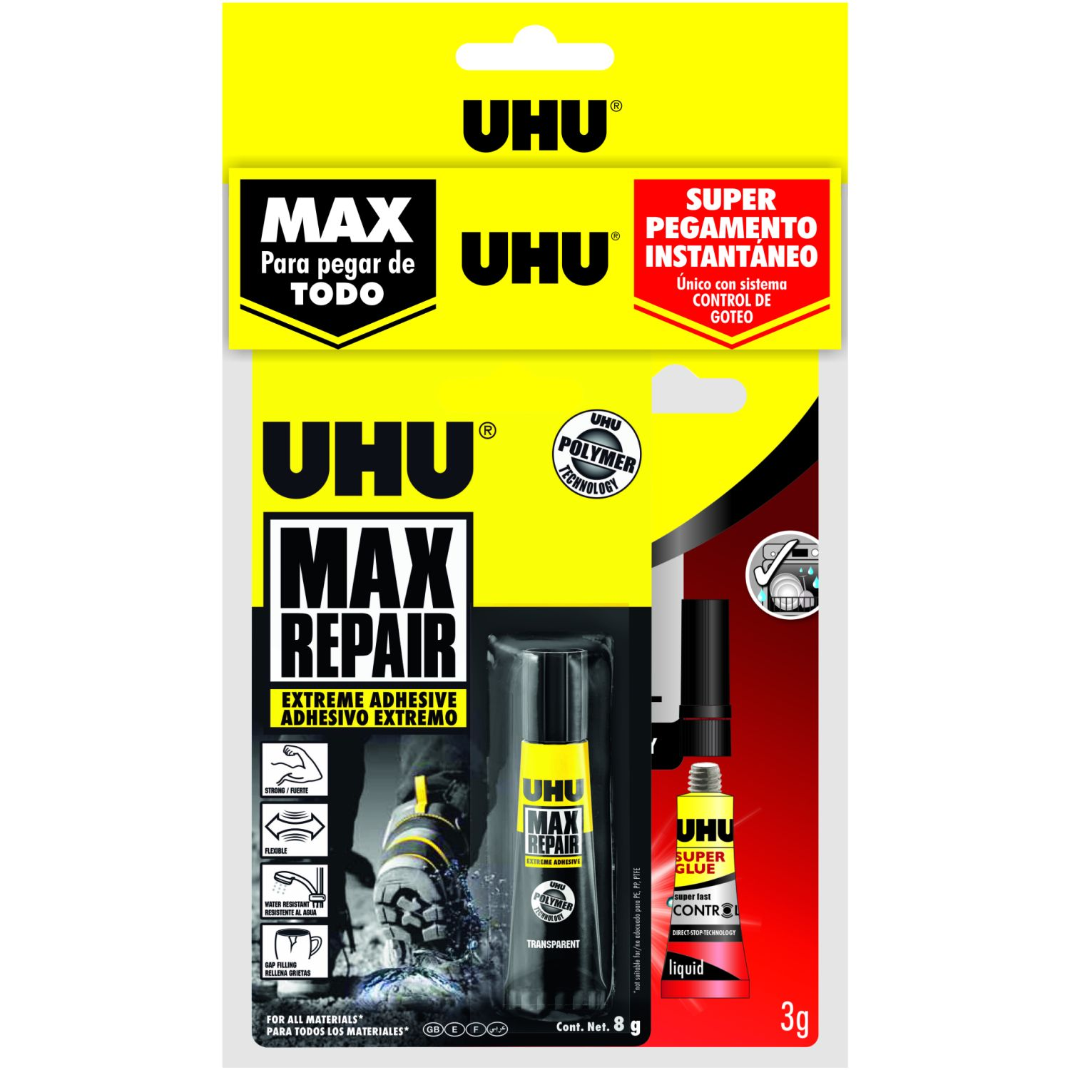 Uhu Super Glue Control + Max Repair Sin color Pegamento en barra y lápices