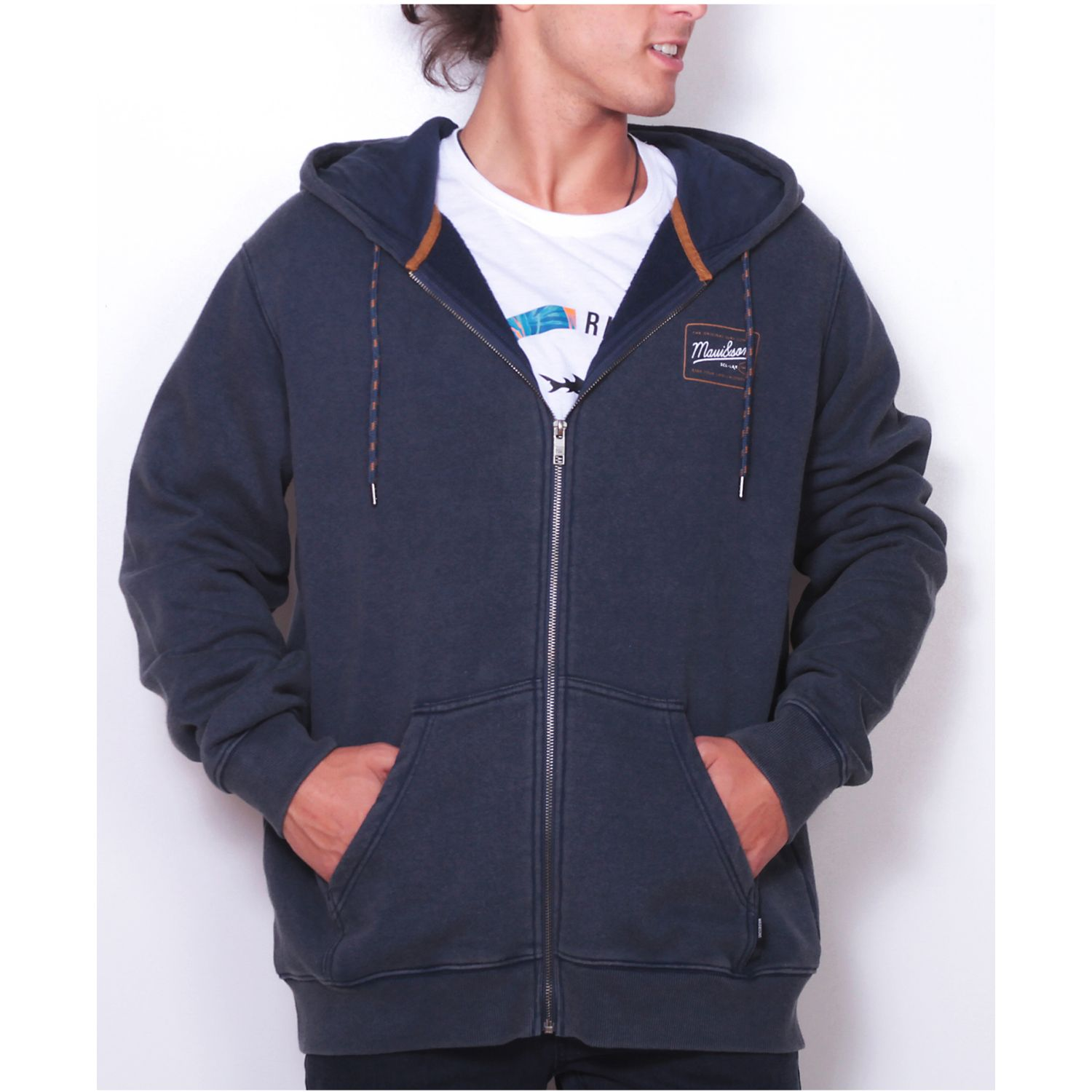 MAUI AND SONS POLERON 5O208-MI19 FZIP LISO Azul Hoodies y Sweaters Fashion