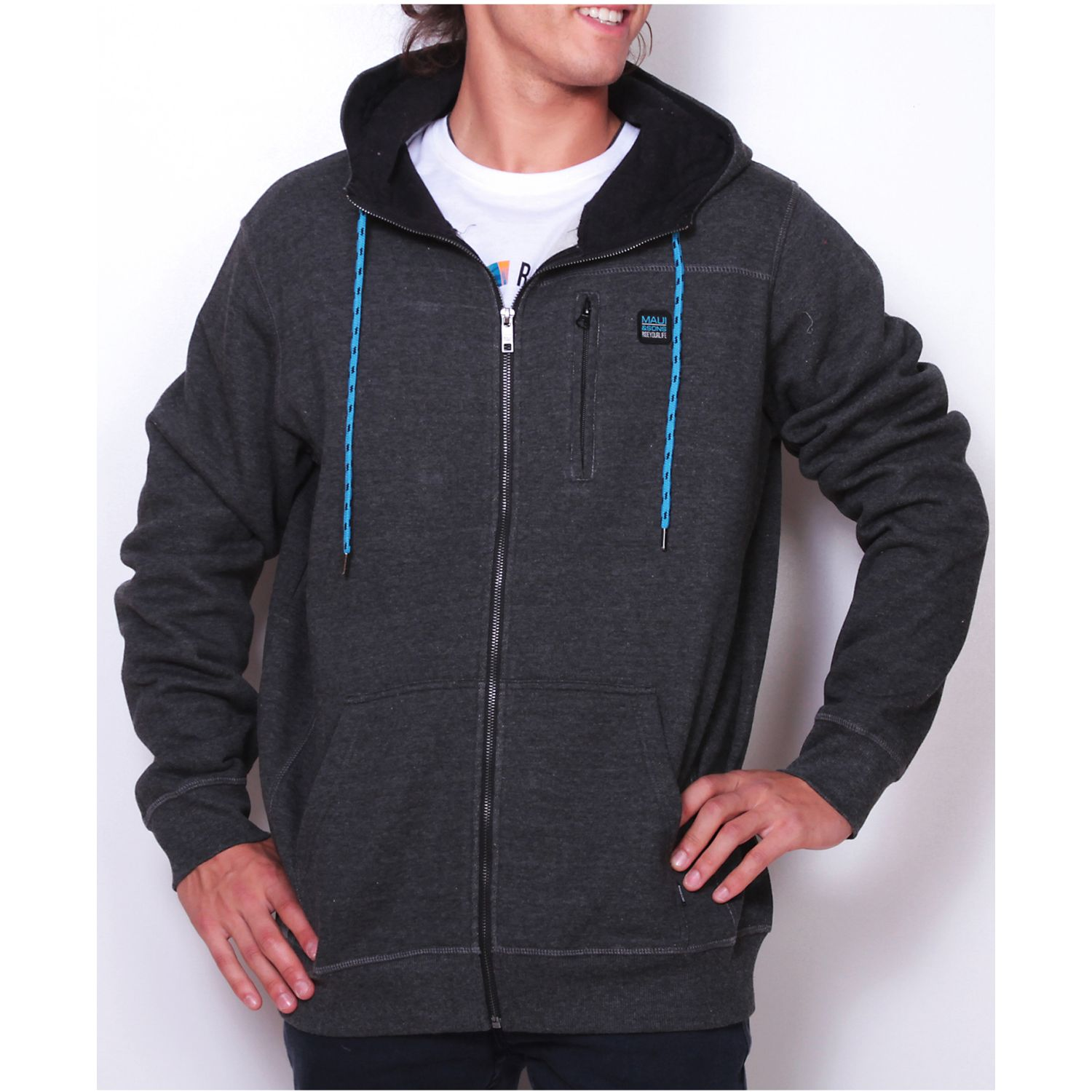 MAUI AND SONS poleron 5o203-mi19 fzip liso Plomo Hoodies y Sweaters Fashion