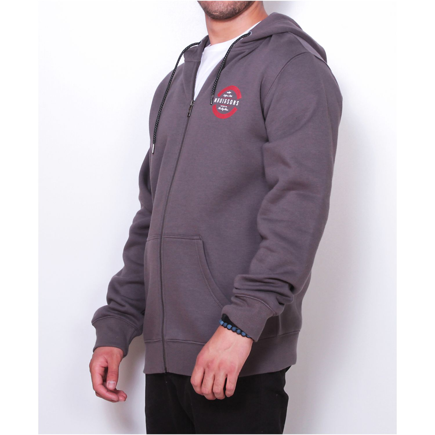 MAUI AND SONS POLERON 5O210-MI19 FZIP LISO Plomo Hoodies y Sweaters Fashion