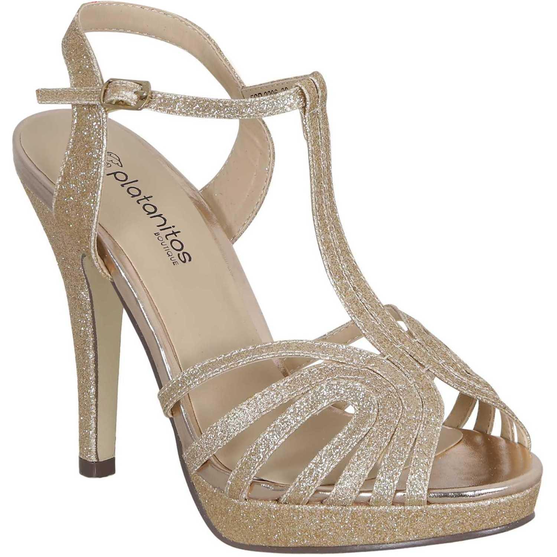 diferentemente 84573 3ff31 Calzado Fiesta de Mujer Platanitos Dorado fsp 2206 ...
