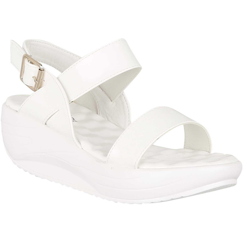 Sandalia Cuña de Mujer Platanitos Blanco spw 1215