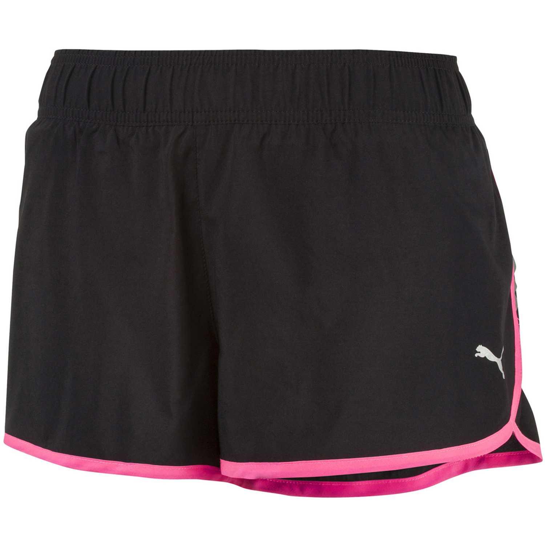 Rizador de Mujer Puma Negro / rosado core-run 3 shorts w