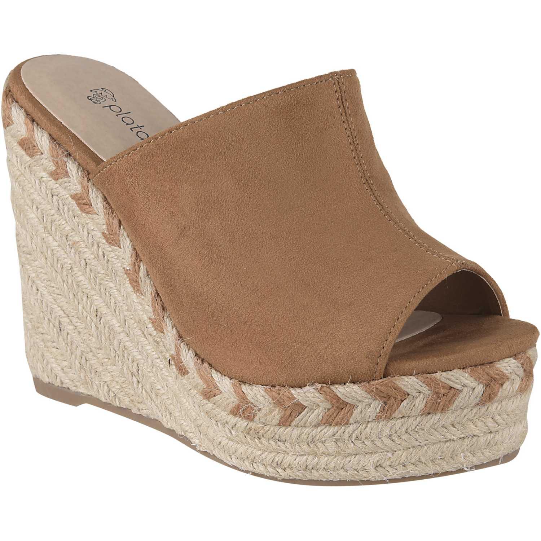 Sandalia Cuña de Mujer Platanitos Camel spw-5201