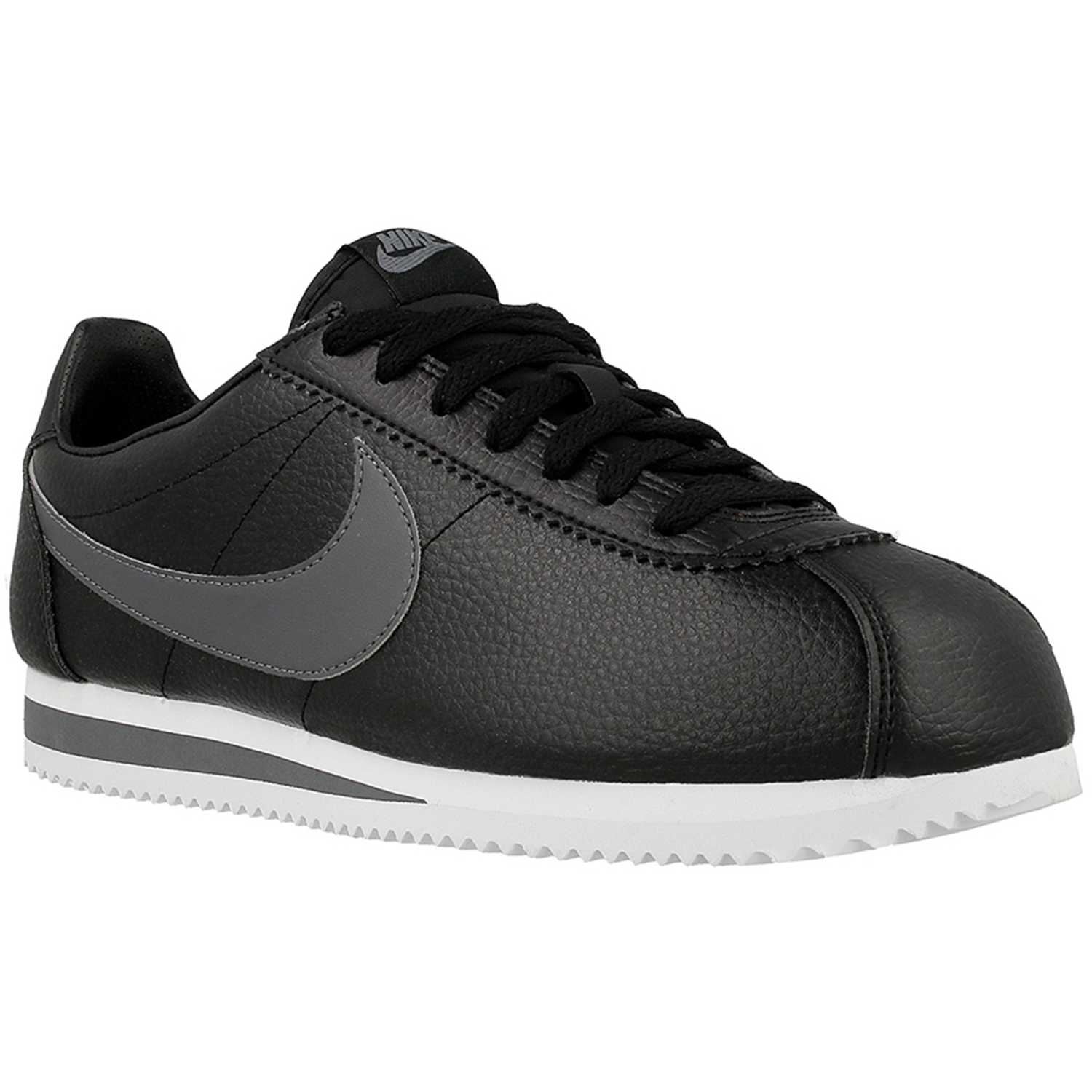 Nike CLASSIC CORTEZ LEATHER NEGRO / GRIS Walking ...