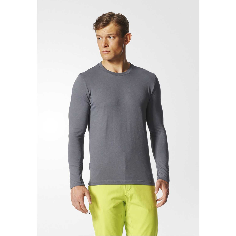 Adidas logo ls m Plomo Camisetas y Polos Deportivos