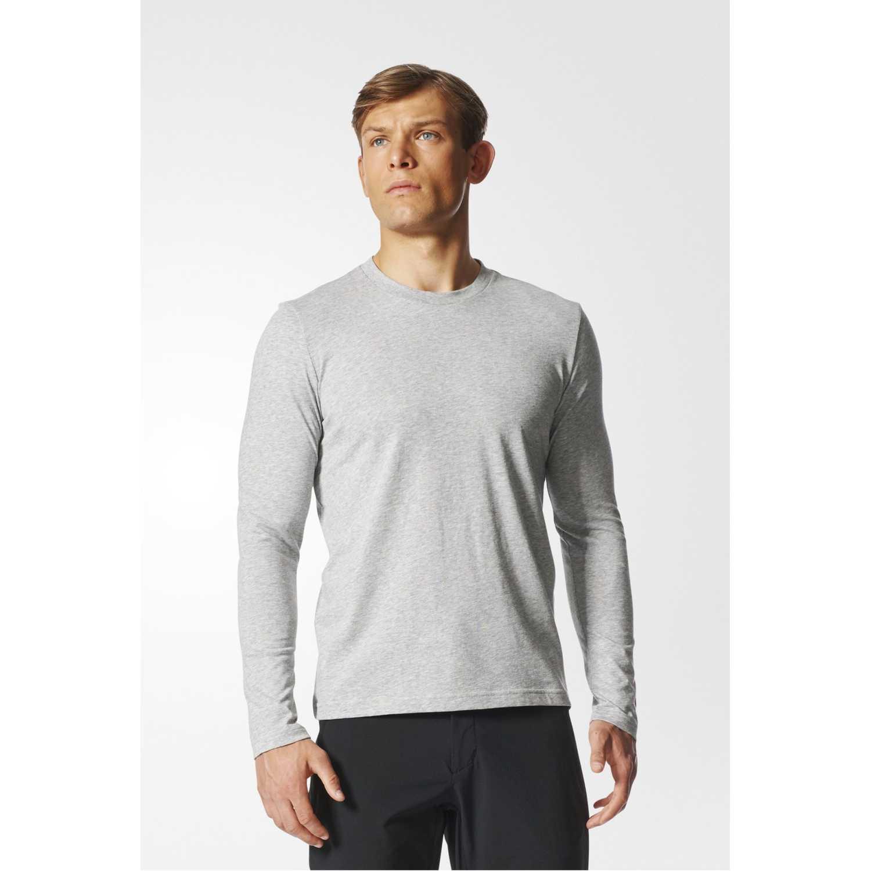 Adidas logo ls m Gris Camisetas y Polos Deportivos
