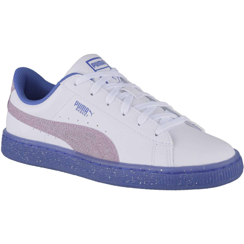 Casual de Jovencita Puma Blanco / azul basket iced glitter 2 jr