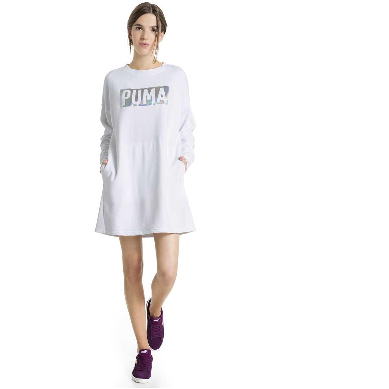 yksityiskohdat paras Viimeisin Puma fusion crew sweat dress w Blanco / acero | platanitos.com