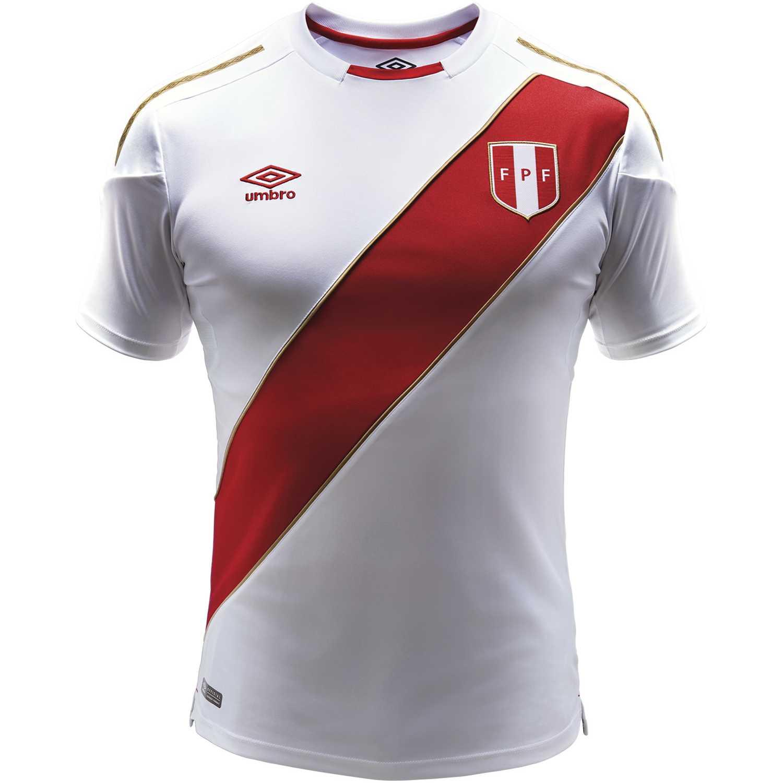 Umbro peru home jersey s/s 2018 (camiseta mundialista) Blanco / rojo Camisetas y Polos Deportivos