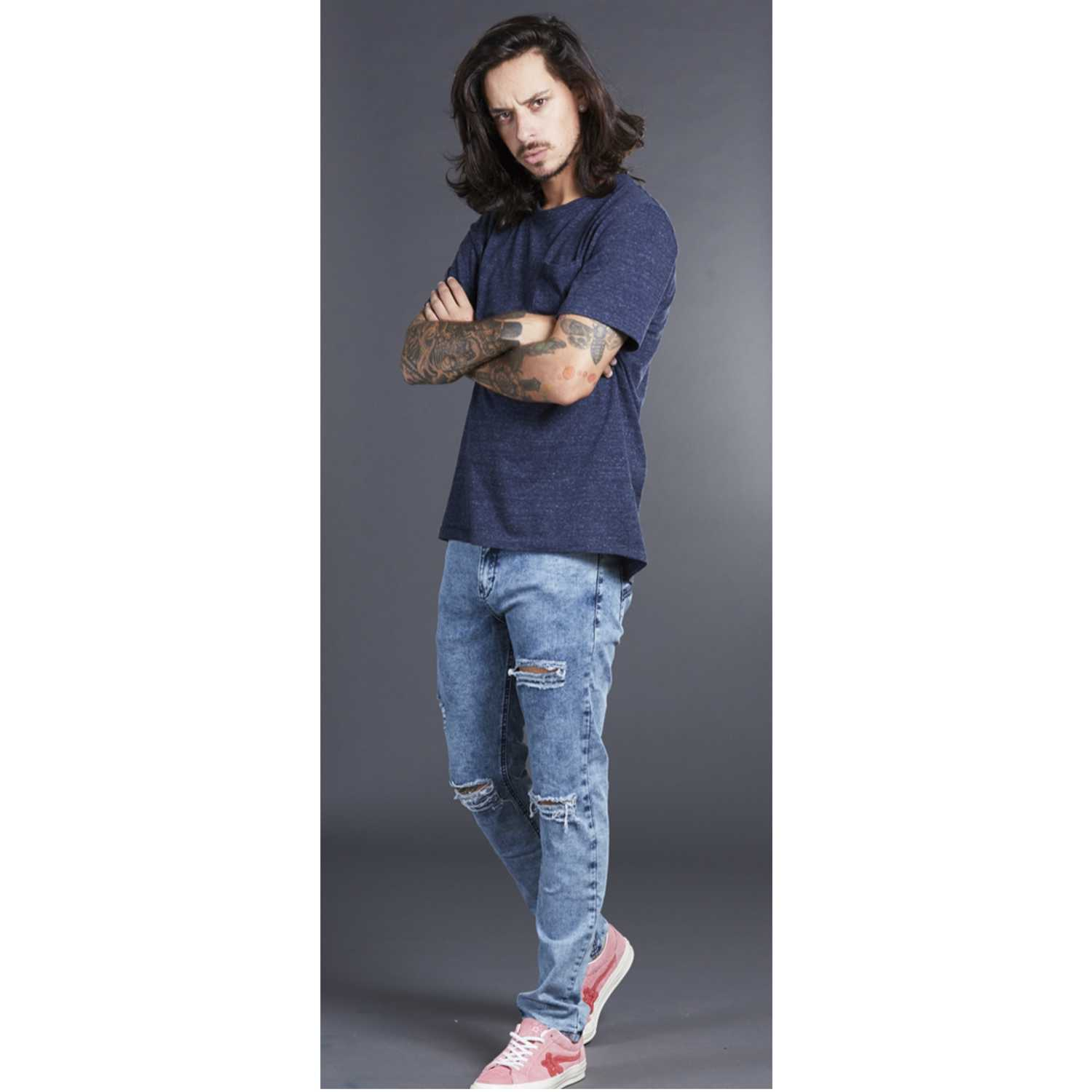 CUSTER rippedm Stone Jeans