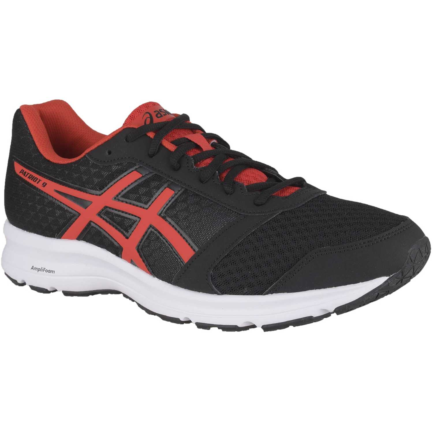 Asics patriot 9 black fiery red whit Negro / rojo Hombres