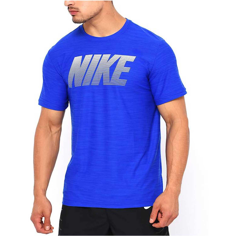 Nike m nk brt top ss dry gfx Azul Polos
