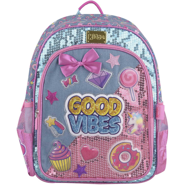 Kiddo mochila good vibes Celeste / rosado mochilas