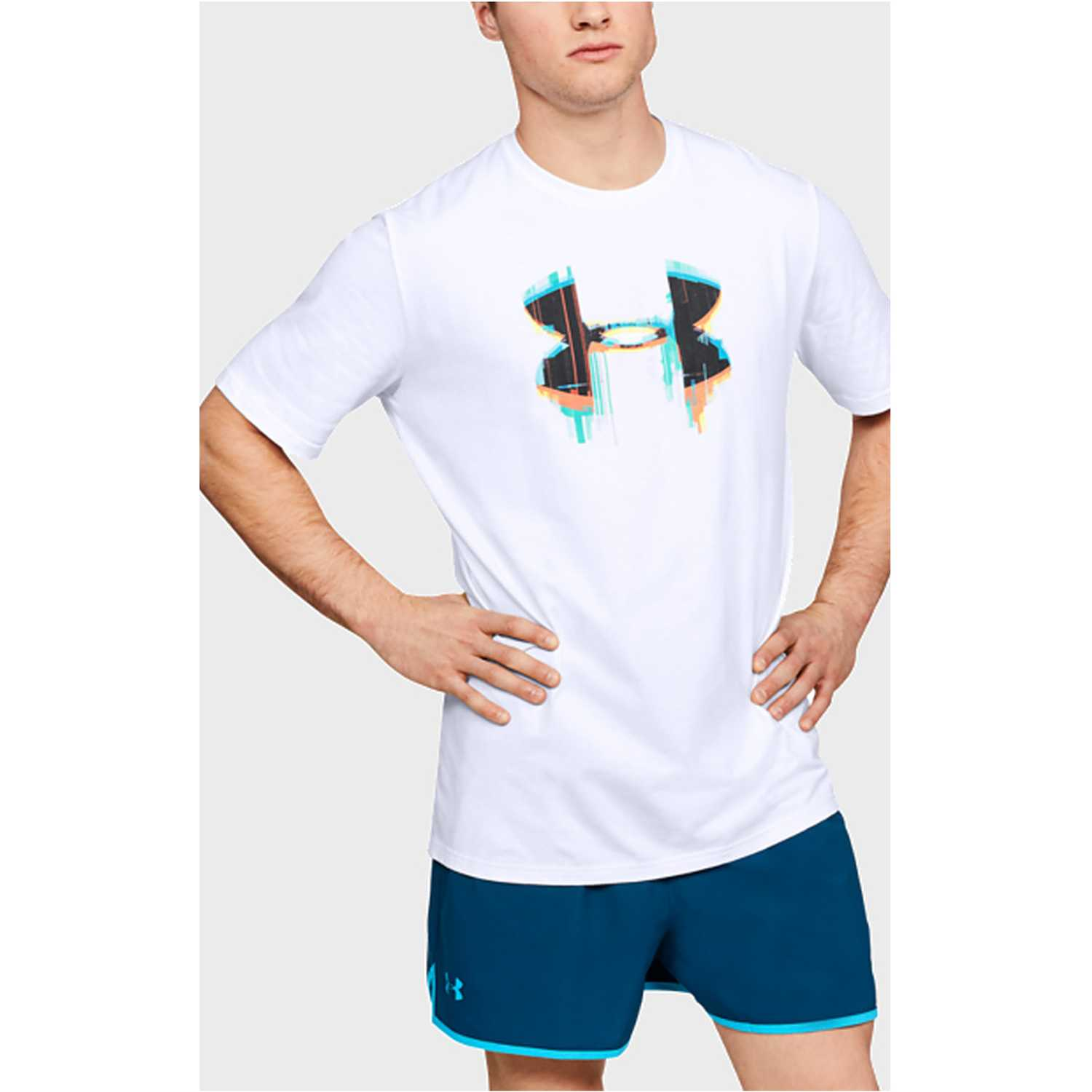 Polo de Hombre Under Armour Blanco glitch big logo ss-wht