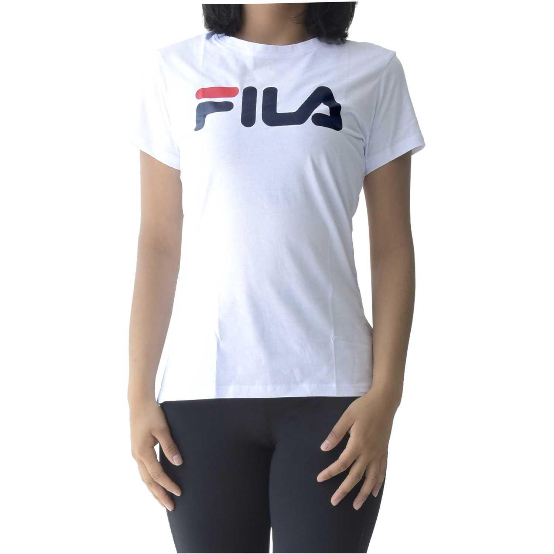 Fila women t-shirt letter new Blanco / azul Polos