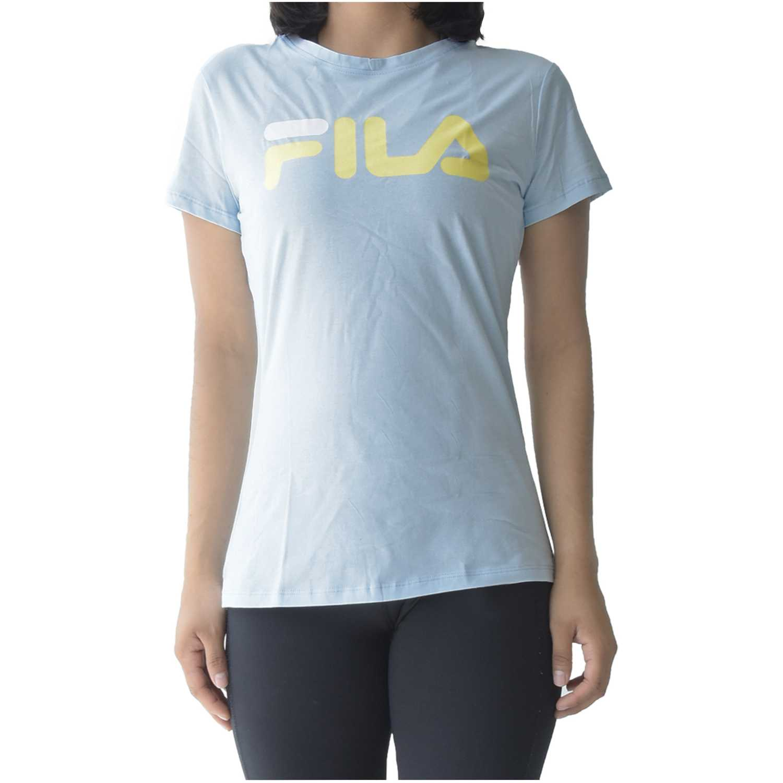 Fila women t-shirt letter new Celeste / amarillo Polos