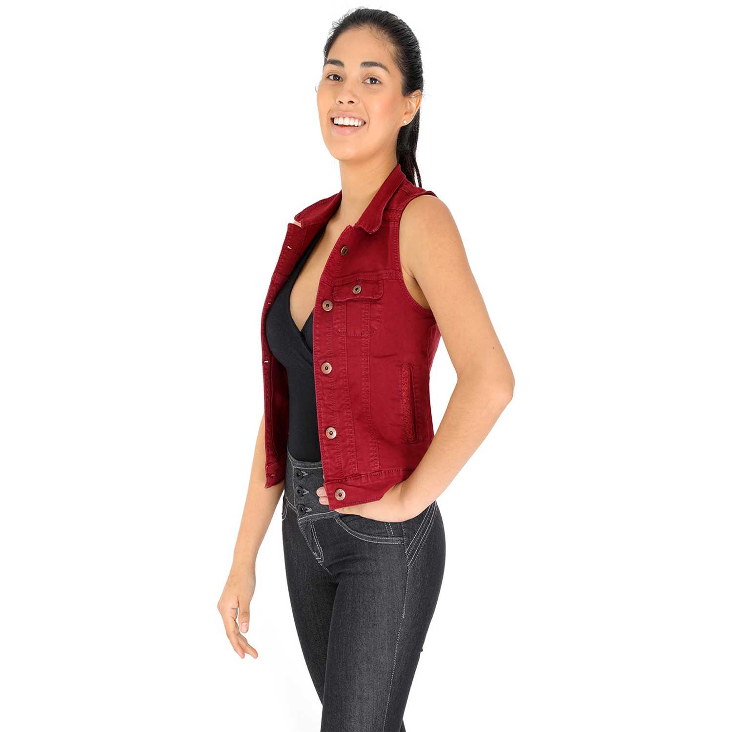 Chaleco de Mujer COTTONS JEANS Guinda nataly