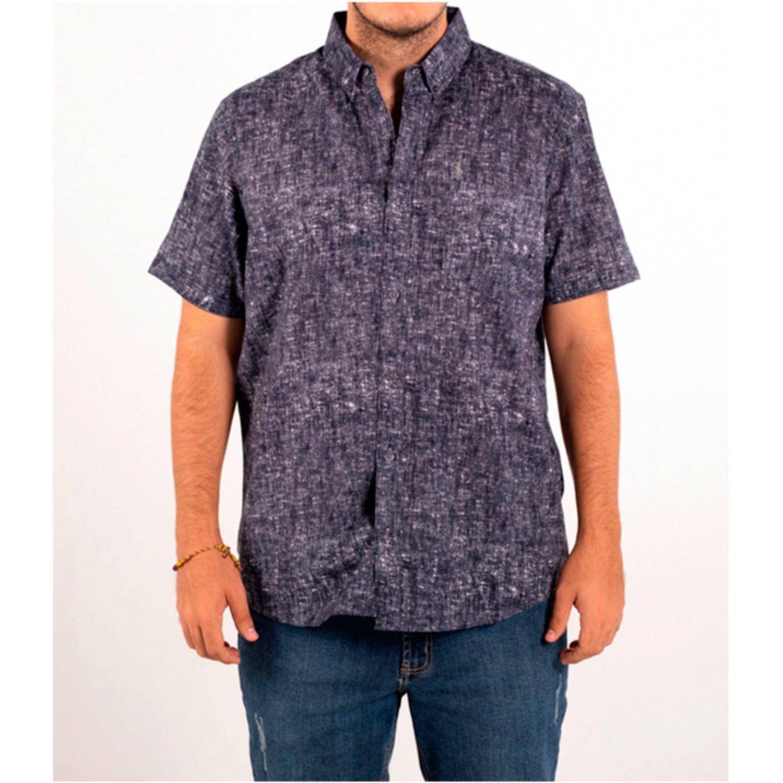 Ritzy Of Italy camisa Navy Camisas de botones