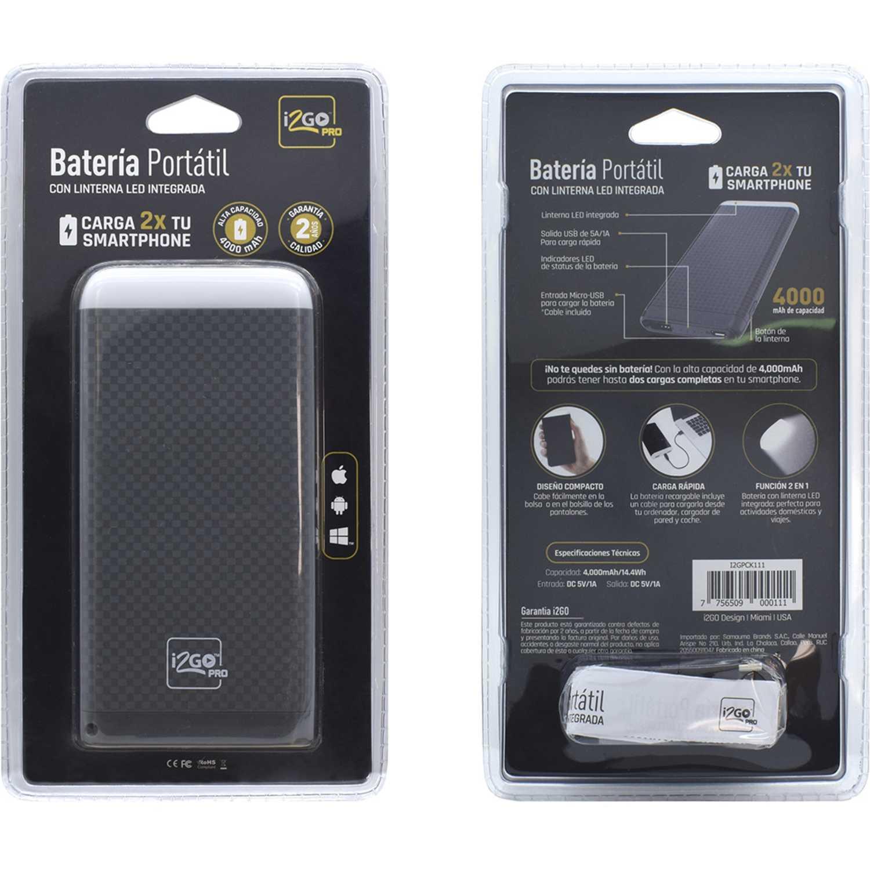 I2go Pro BATERIA PORTATIL 4000 AMP CON LINTERNA Gris AA