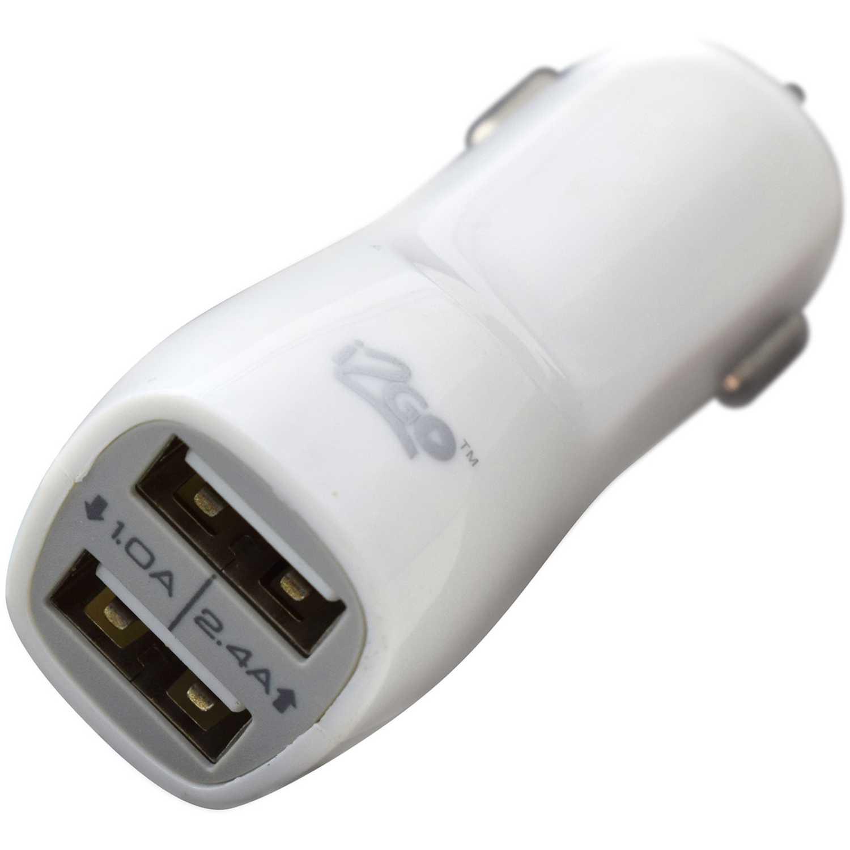 I2go CARGADOR DUAL USB CARRO BLANCO Blanco cargadores de coche