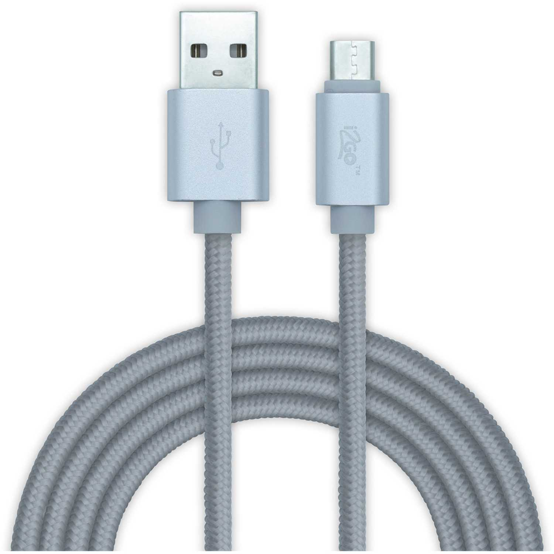 I2go Pro cable micro usb nylon 2mt plateado Plateado cargadores de coche