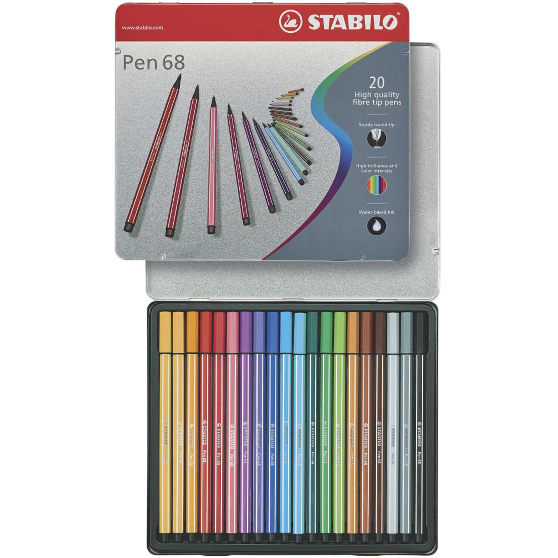 Stabilo sta rotulador pen 68 estuche de metal x 20 unid. Varios Los marcadores borrables