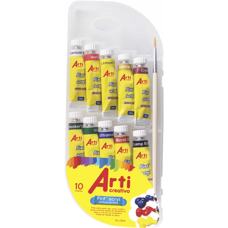 Arti Creativo Ac Pint A'Cryl 10 X 10 Ml. + Pincel Varios Pintura de dedos