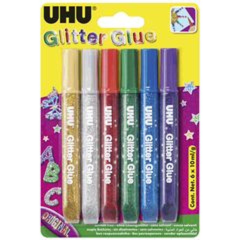 Uhu Uhu Goma Escarcha Blister 6 X 10 Ml. Varios Pegamento en barra y lápices