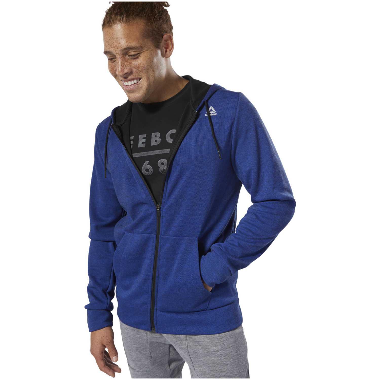 Reebok wor mel dbl kn fz hoodie Azul Sweatshirts Deportivos