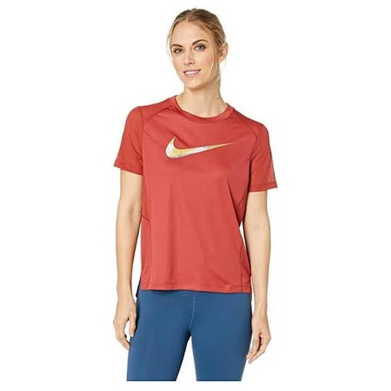 Nike W Nk Miler Top Ss Metallic Negro Polos