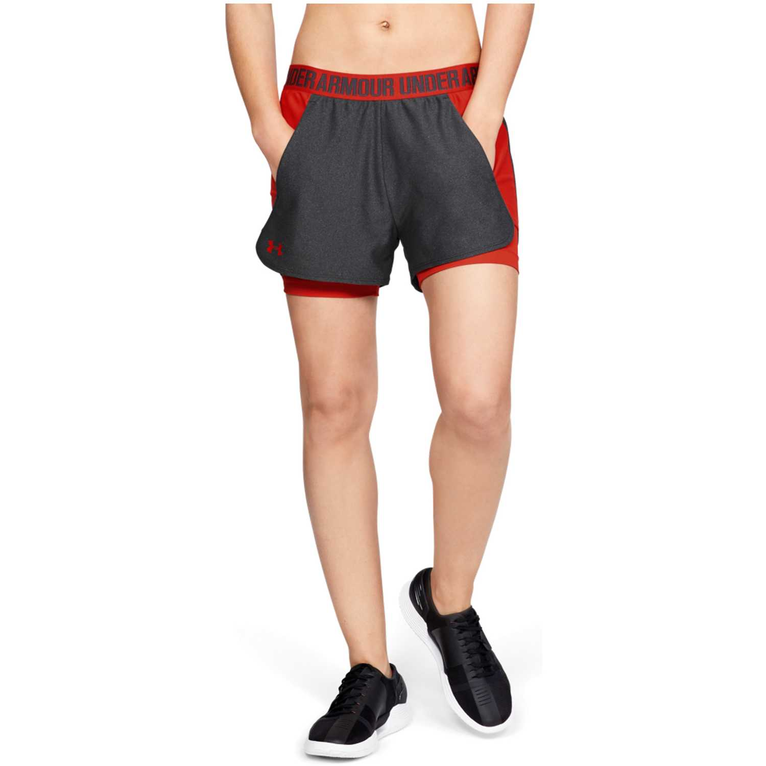 Under Armour play up short 2-in-1-gry Rojo / gris Shorts Deportivos