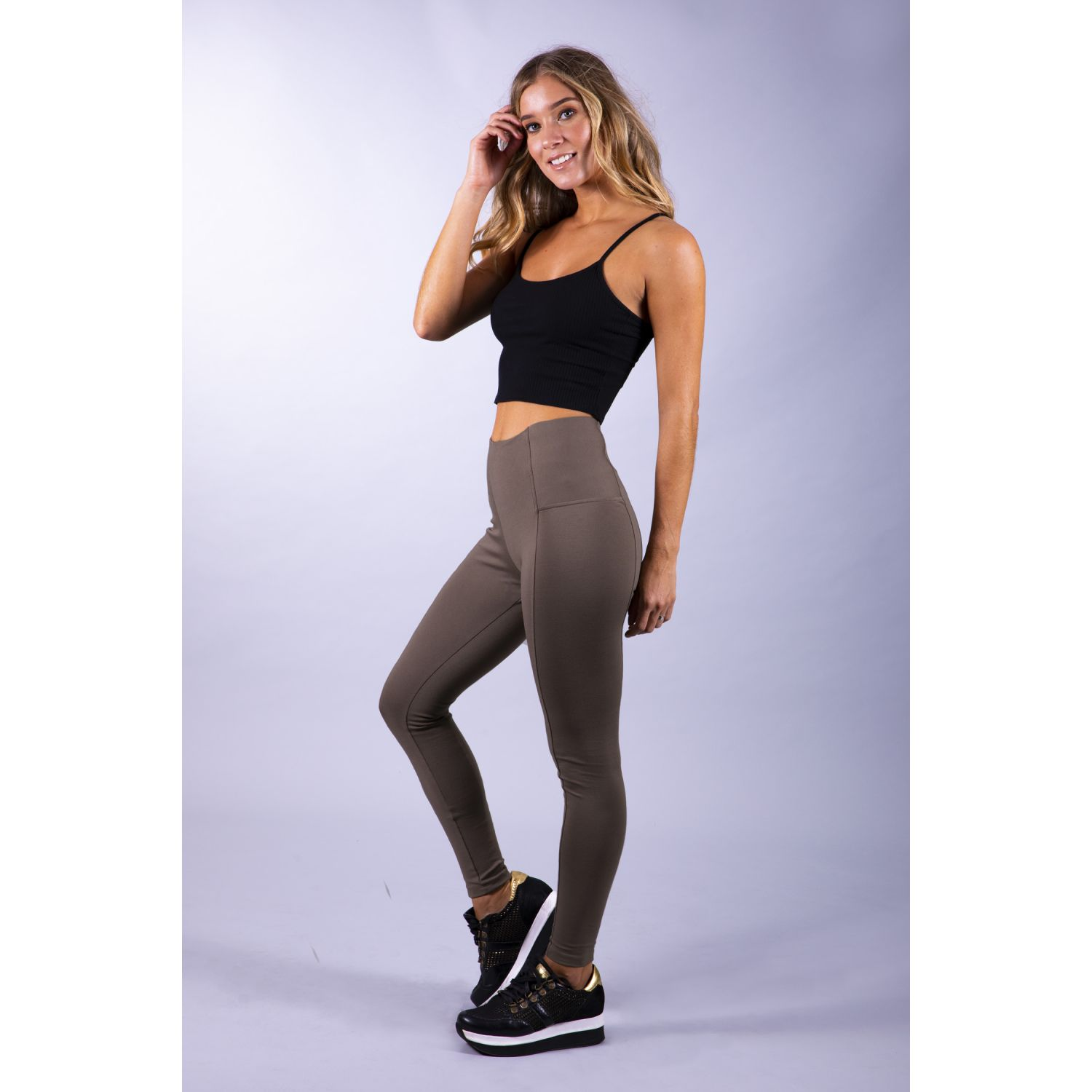 Pantalonia Leg Color Elastico Cintura Cubierto Marron Leggings