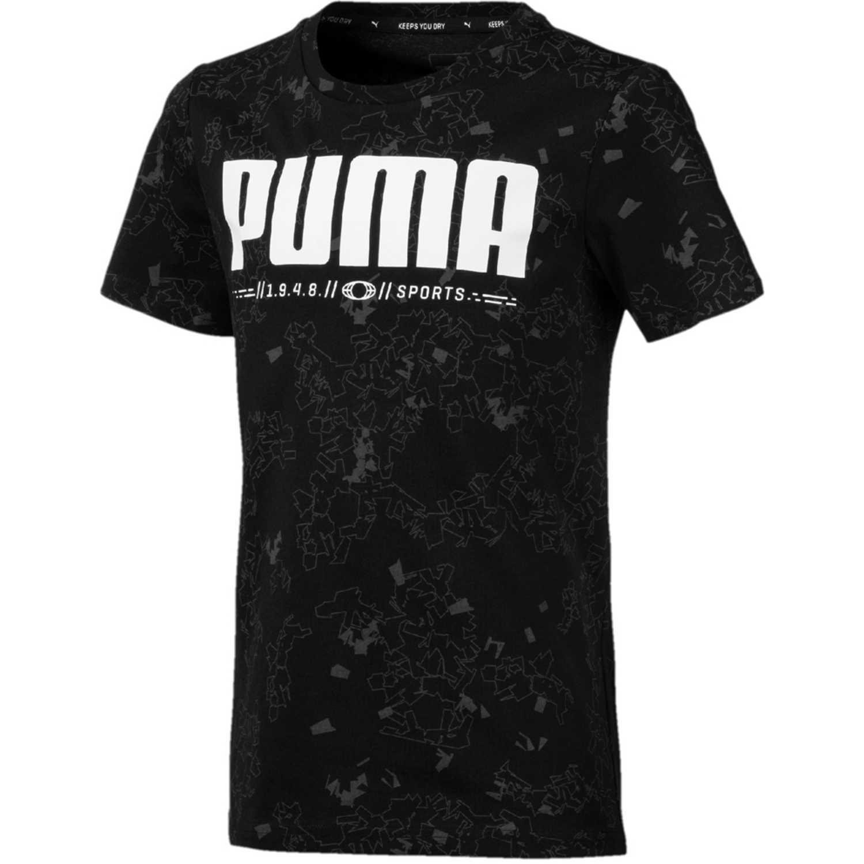 Puma active sports aop tee b Negro / blanco Camisetas y Polos Deportivos