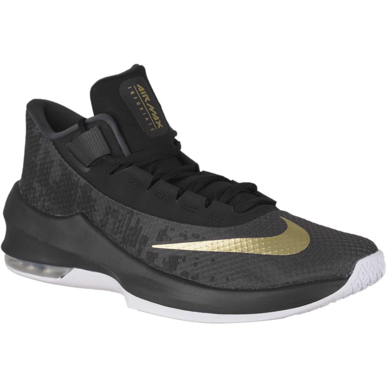 Nike air max infuriate 2 mid Negro / dorado Hombres ...