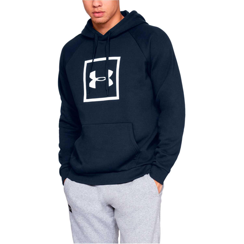 Polera de Hombre Under Armour Navy rival fleece logo hoodie-nvy