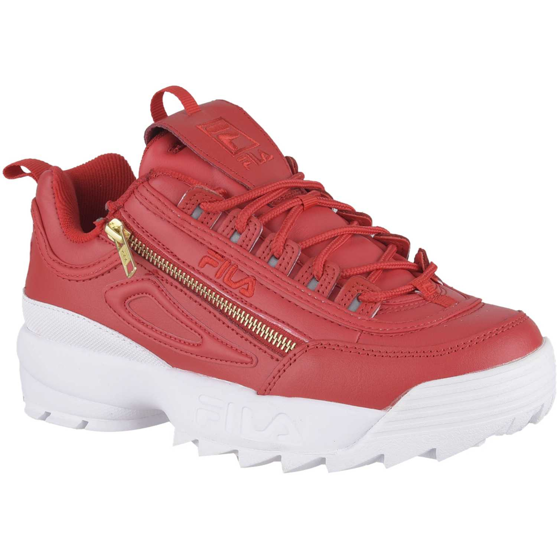 Cuña de Mujer Fila Rojo / blanco disruptor ii zipper fem