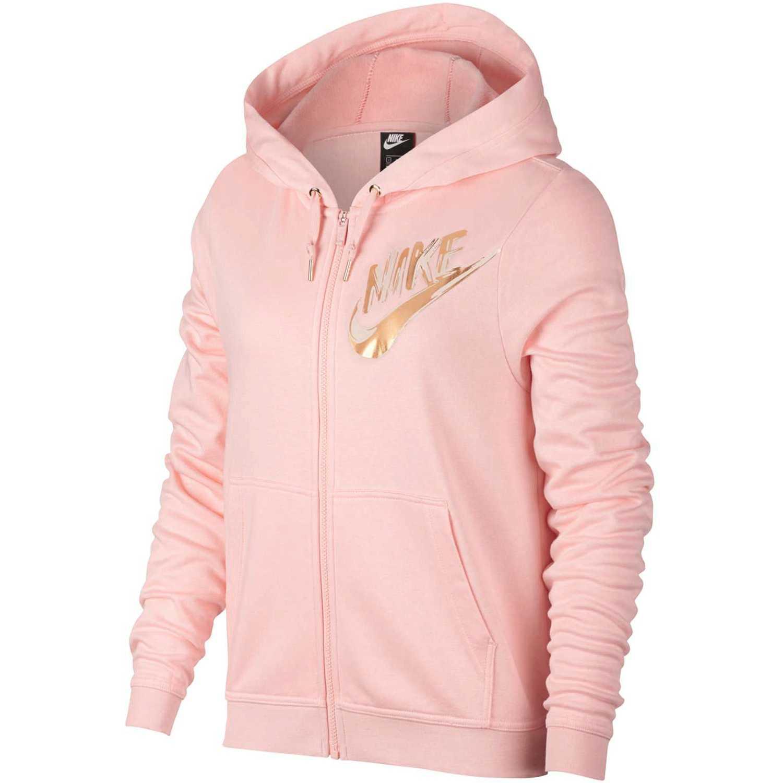 Casaca de Mujer Nike Melón w nsw hoodie fz flc metllc gx