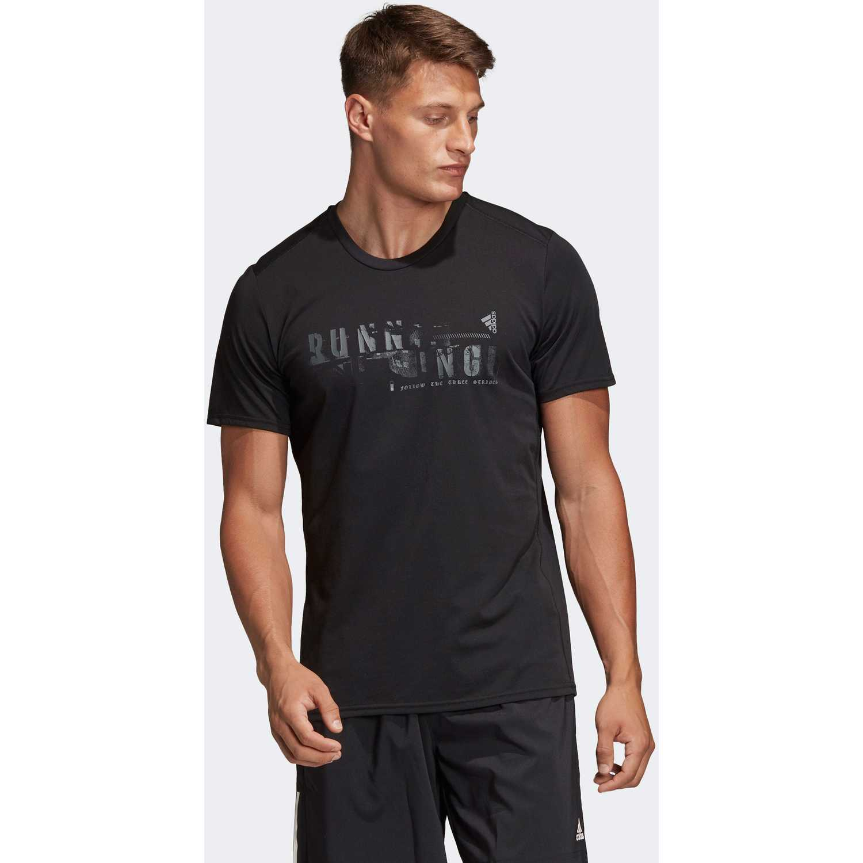 Adidas running tee Negro Camisetas y Polos Deportivos