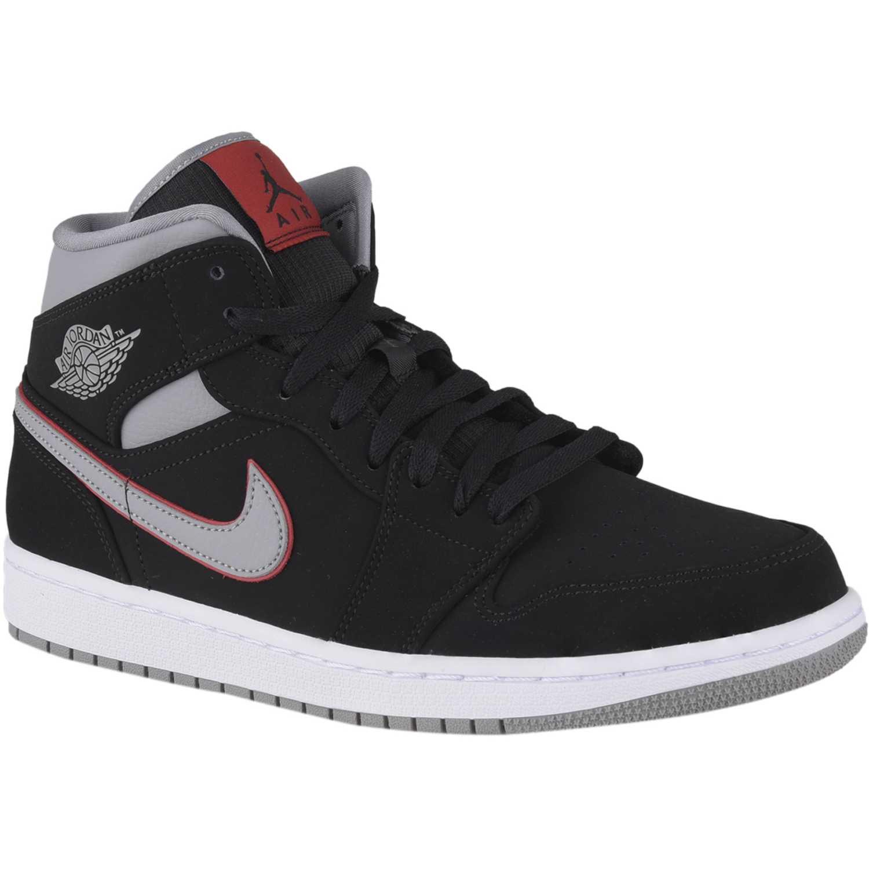 Nike AIR JORDAN 1 MID Negro /gris Hombres | platanitos.com
