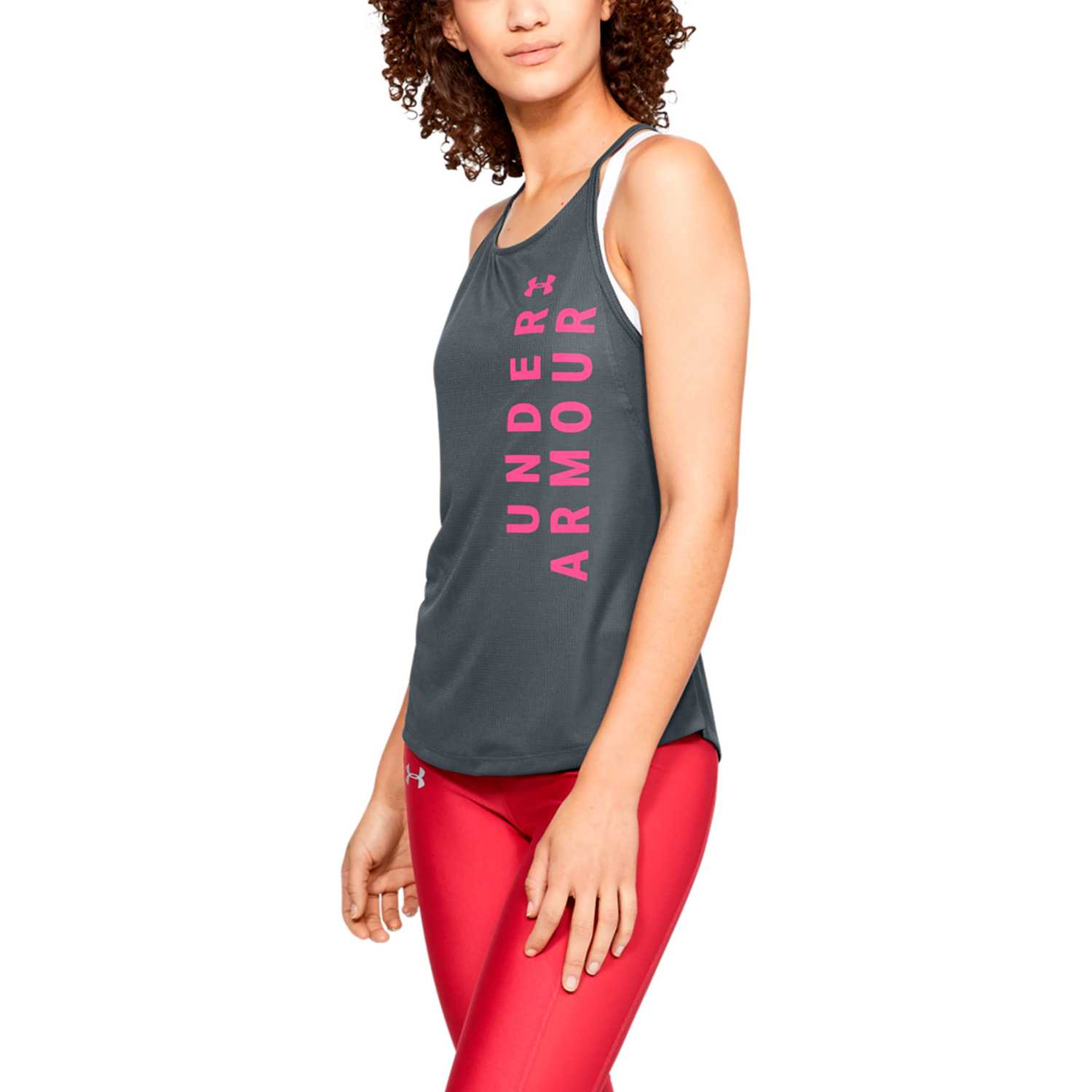 Under Armour ua speed stride split tank Plomo / rosado Tank Tops