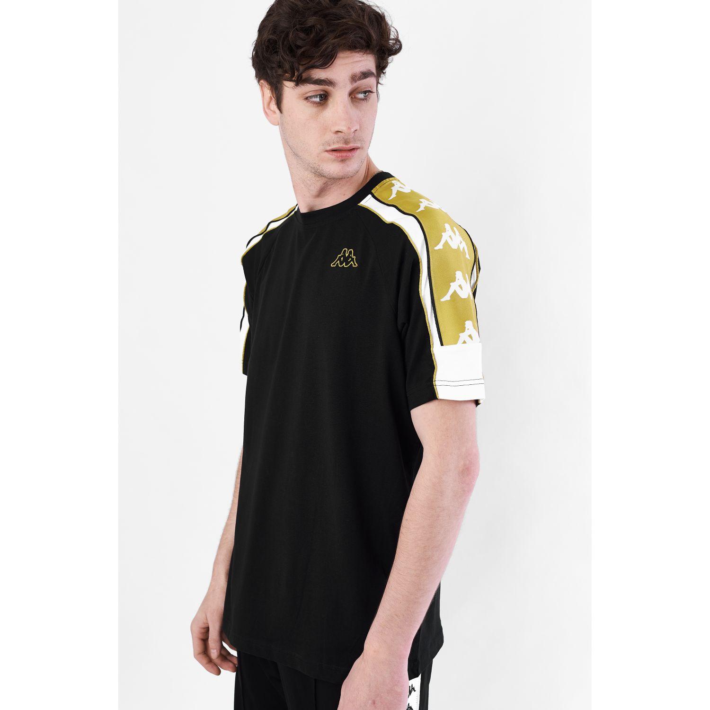 Kappa 222 Banda 10 Arset Negro / amarillo Camisetas y polos deportivos